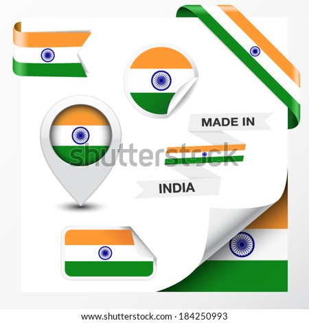 Made in India collection of ribbon, label, stickers, pointer, icon and page curl with Indian flag symbol on design element. Vector EPS 10 illustration isolated on white background. - stock vector