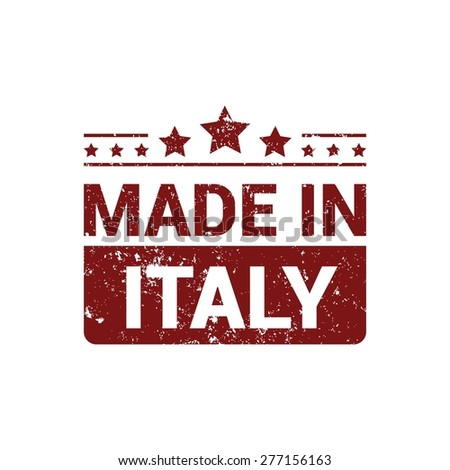 Made in Italy . Red grunge rubber stamp design isolated on white background. With vintage texture. vector illustration - stock vector