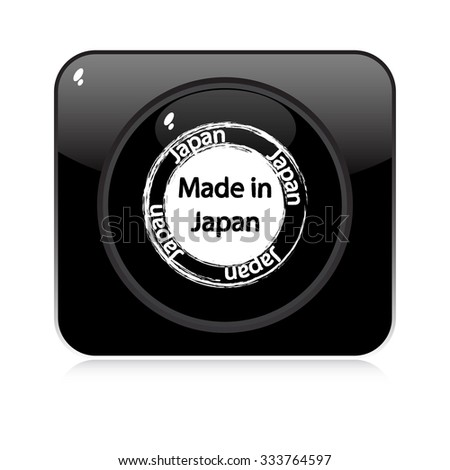 made in japan - button - stock vector
