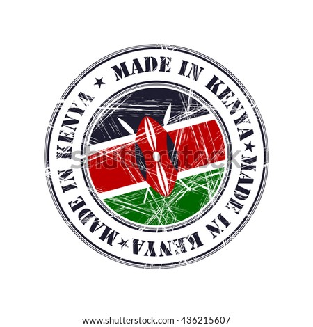 Made in Kenya grunge rubber stamp with flag - stock vector