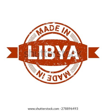 Made in Libya - Round red grunge rubber stamp design isolated on white background. vector illustration vintage texture. - stock vector