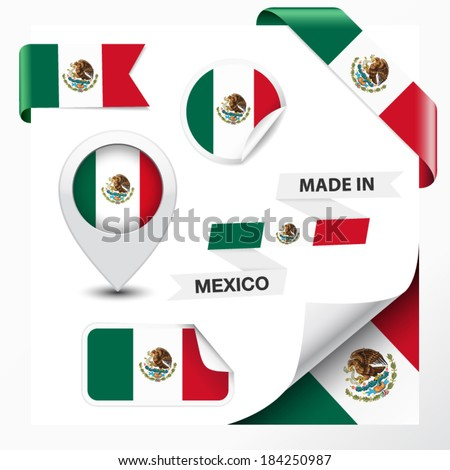 Made in Mexico collection of ribbon, label, stickers, pointer, icon and page curl with Mexican flag symbol on design element. Vector EPS 10 illustration isolated on white background. - stock vector
