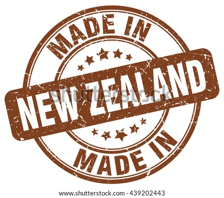made in New Zealand brown round vintage stamp.New Zealand stamp.New Zealand seal.New Zealand tag.New Zealand.New Zealand sign.New.Zealand.New Zealand label.stamp.made.in.made in. - stock vector