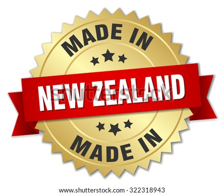 made in New Zealand gold badge with red ribbon - stock vector
