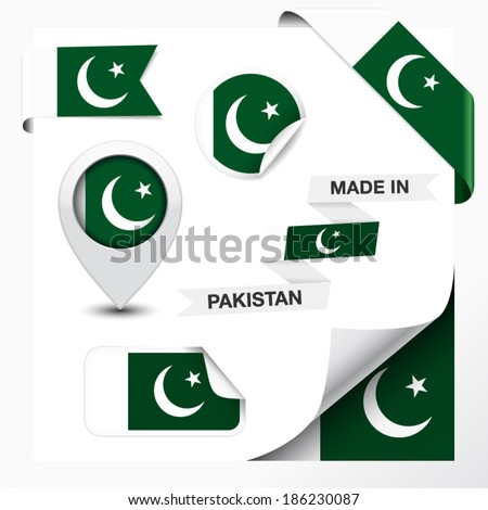 Made in Pakistan collection of ribbon, label, stickers, pointer, badge, icon and page curl with Pakistani flag symbol on design element. Vector EPS 10 illustration isolated on white background. - stock vector