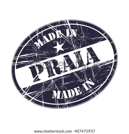 Made in Praia rubber stamp - stock vector