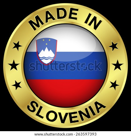 Made in Slovenia gold badge and icon with central glossy Slovene flag symbol and stars. Vector EPS 10 illustration isolated on black background. - stock vector