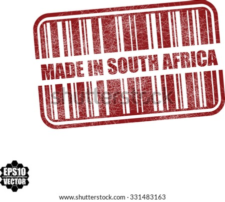 Made in South Africa With Barcode And Shadow Red Grunge Stamp Isolated On White Background. Vector illustration  - stock vector