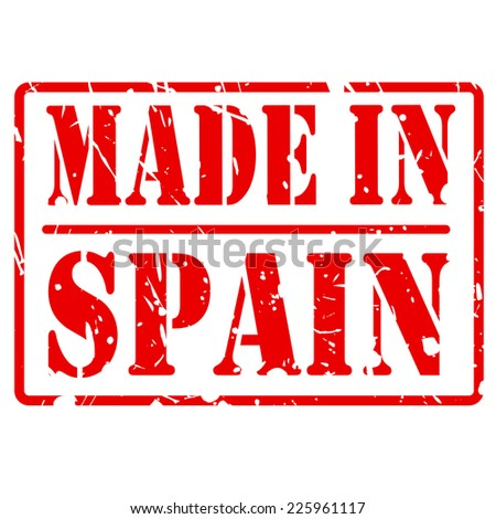 Made in spain red stamp text on white - stock vector