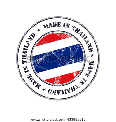 Made in Thailand grunge rubber stamp with flag - stock vector