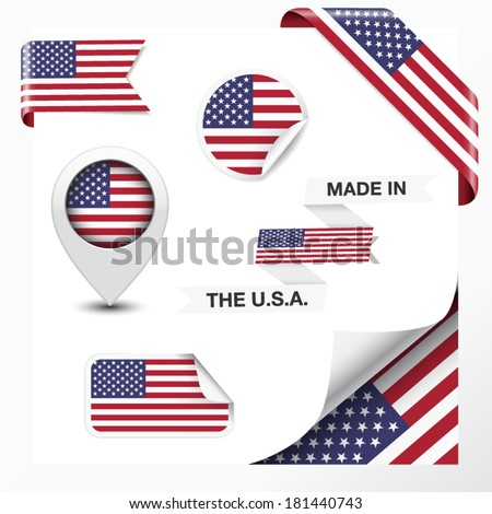 Made in The USA collection of ribbon, label, stickers, pointer, icon and page curl with United States Of America  flag symbol on design element. Vector EPS 10 illustration on white background. - stock vector