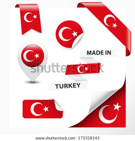 Made in Turkey collection of ribbon, label, stickers, pointer, badge, icon and page curl with Turkish flag symbol on design element. Vector EPS10 illustration isolated on white background. - stock vector