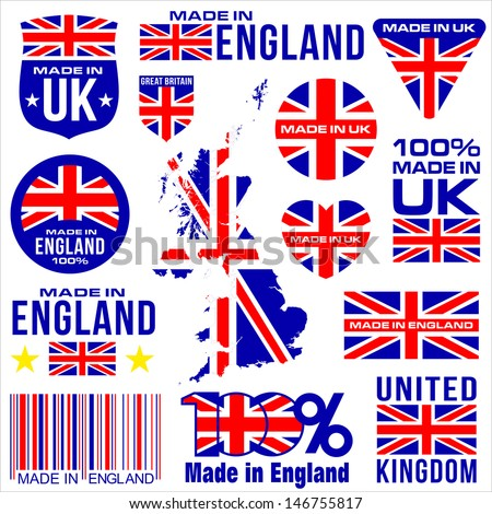 Made in UK ENGLAND united kingdom VECTOR FLAG MAP GREAT BRITAIN - stock vector