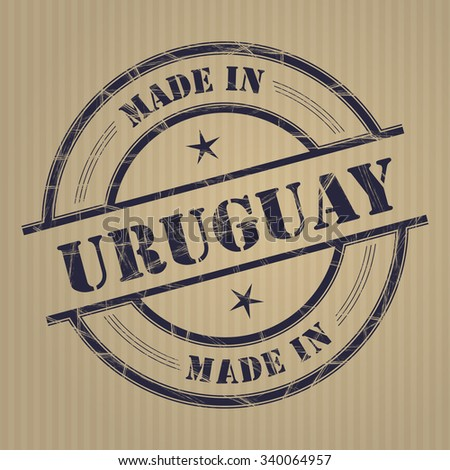 Made in Uruguay grunge rubber stamp - stock vector