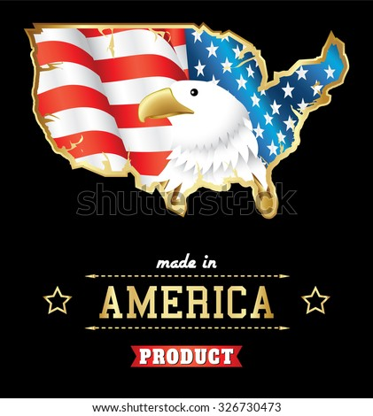 made in usa bold eagle with american flag and map in golden vintage style - stock vector