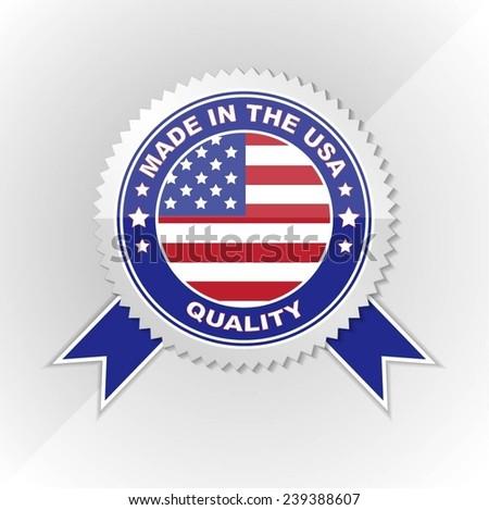 Made in USA, Flag, Seal, Ribbon, Vector Art - stock vector
