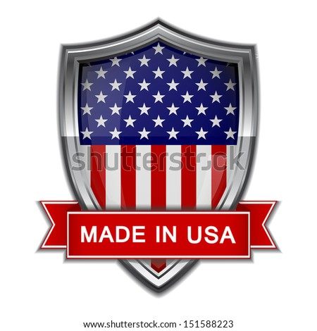 Made in USA. Glossy label - stock vector