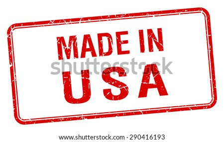 made in usa red square isolated stamp - stock vector