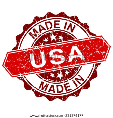 made in USA red stamp isolated on white background - stock vector