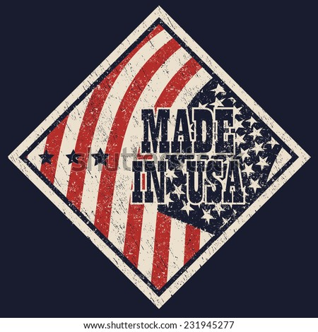 made in usa scratched sign vector illustration, eps10, easy to edit - stock vector