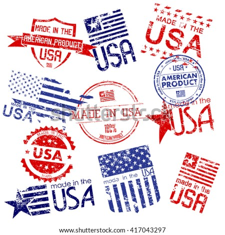 Made in USA. Set of grunge stamps - stock vector