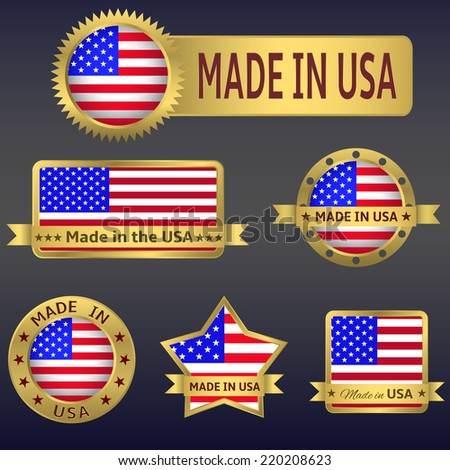 Made in  USA. Set of vector icons and labels. - stock vector