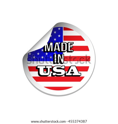 Made in USA stars and stripes flag sticker - stock vector