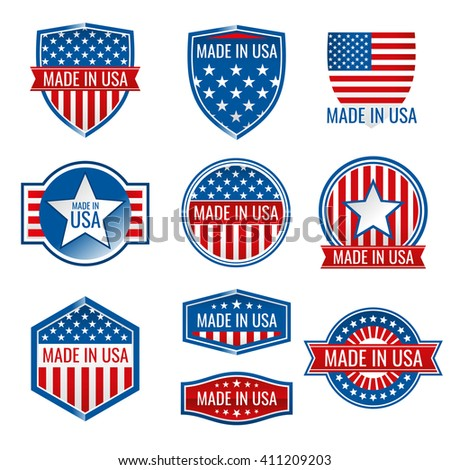 Made in USA vector icons. Made in usa icon, american product made in usa, quality made in usa illustration - stock vector