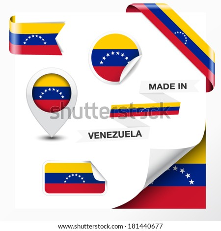 Made in Venezuela collection of ribbon, label, stickers, pointer, badge, icon and page curl with Venezuelan flag symbol on design element. Vector EPS 10 illustration isolated on white background. - stock vector