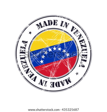 Made in Venezuela grunge rubber stamp with flag - stock vector