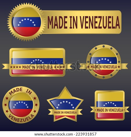 made in Venezuela labels,stickers,flags. Vector illustration. - stock vector