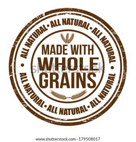 Made with whole grains grunge rubber stamp on white, vector illustration - stock vector
