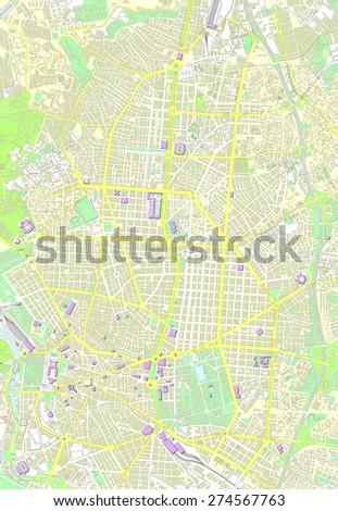 Madrid map - stock vector