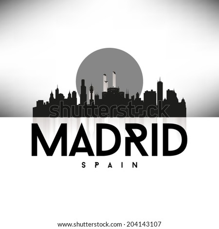 Madrid Spain Skyline Silhouette design, vector illustration, Black. - stock vector