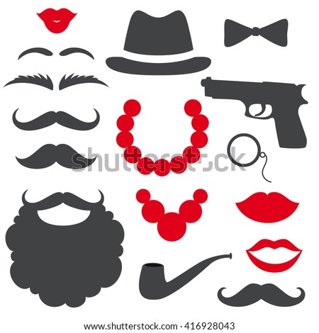 Mafia props set. Party gangster birthday photo booth props. Hat, mustache, beard, lips,beads, gun, bow tie, tube. Vector illustration mafia photo booth props. Mafia props.  - stock vector