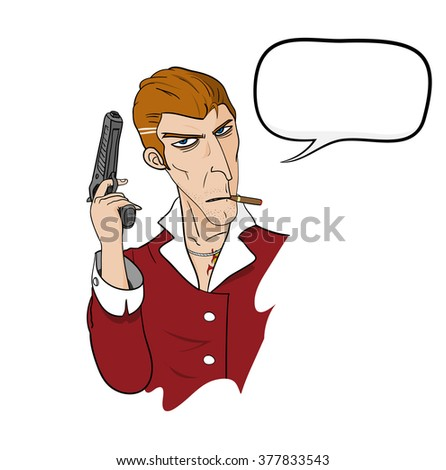 Mafia With Text, a hand drawn vector illustration of a mafia holding a hand gun and smoking a cigar, and a blank dialogue box (easily removable). - stock vector