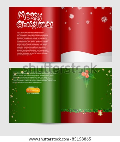 Magazine blank page christmas design template - stock vector