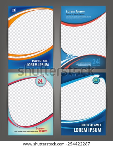 Magazine, flayer, brochure and cover layout design print template, set of 4 vector Illustrations - stock vector