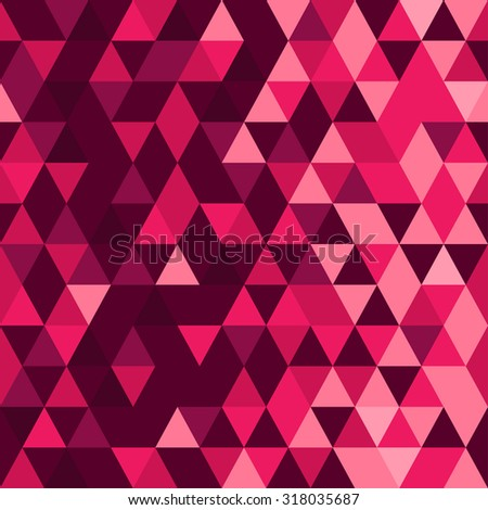 Magenta abstract seamless pattern. Origami ornament. Geometric backdrop. Polygonal crystal texture. Triangular texture. - stock vector