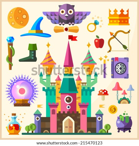Magic and fairy tale. Magic Castle. Vector flat icon and illustrations: castle, owl, ring, crown, staff, hat, book of spells, magic wand, magic ball, bowler, potion, mushrooms, bow, arrow, apple - stock vector