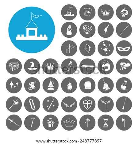 Magic and Fantasy icons set. Illustration EPS10 - stock vector