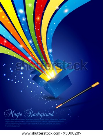Magic background with an open box and a magic wand - stock vector