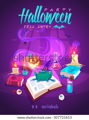 Magic book with smiling frog . Halloween cardposter. Vector illustration. - stock vector