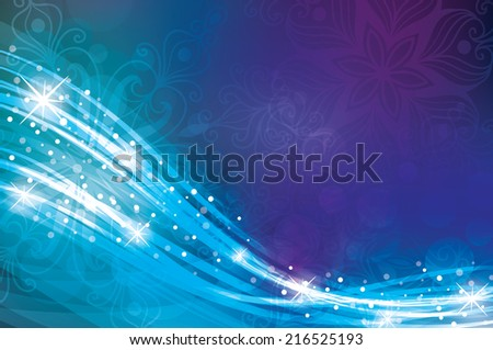 Magic Christmas background in blue colours - stock vector