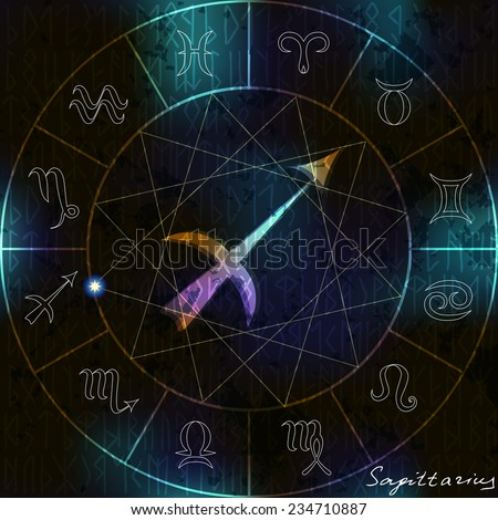 Magic circle with Sagittarius astrological symbol in center. - stock vector