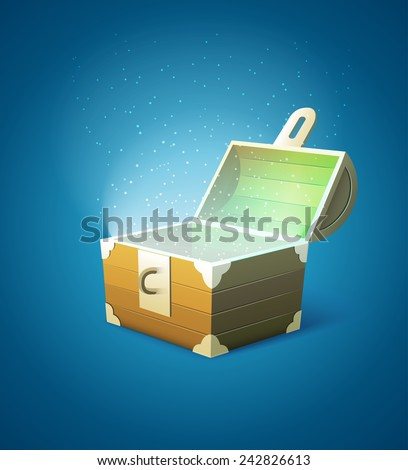 Magic fairytale wooden trunk empty with lights. Eps10 vector illustration - stock vector