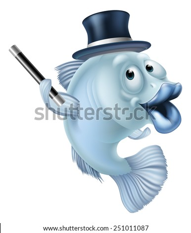 Magic fish cartoon or a fish mascot character in a magicians top hat holding magic wand - stock vector