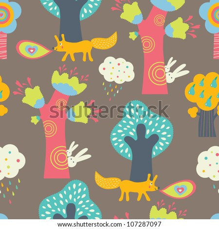 Magic forest. Seamless pattern in cartoon style. - stock vector