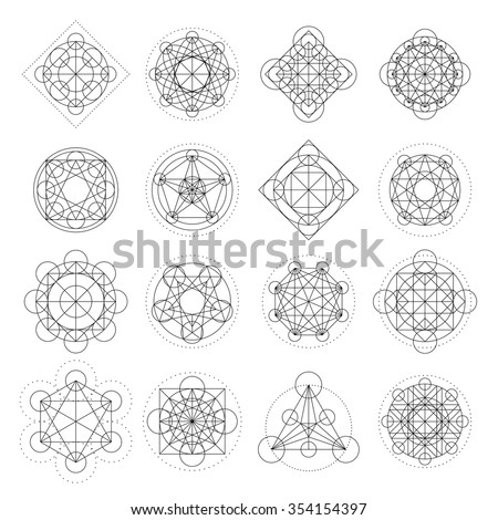 Magic geometry signs collection. Runes and alchemy mystical symbols. Set for game design, sprites for game user interface. Vector Asset. - stock vector