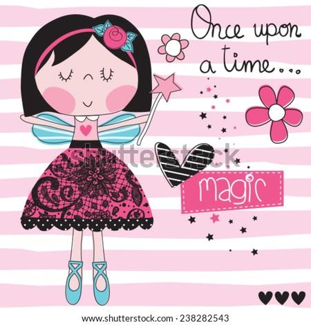 magic girl fairy vector illustration - stock vector
